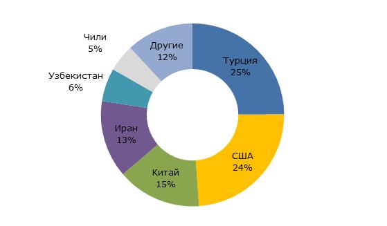Структура производства изюма на мировом рынке, 2016/17 гг.